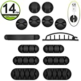 ADVcer 14pcs Cable Organizer Clips Kit, Adhesive