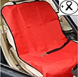Economic Pet Seat Cover Front Car Mat for Small Medium Dogs Cats – Waterproof Anti-Scratch Seat Cover with Free Safty Seatbelt (Large, Red)