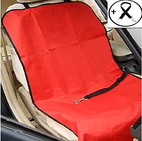 Economic Pet Seat Cover Front Car Mat for Small Medium Dogs Cats - Waterproof Anti-Scratch Seat Cover with Free Safty Seatbelt (Large, Red)