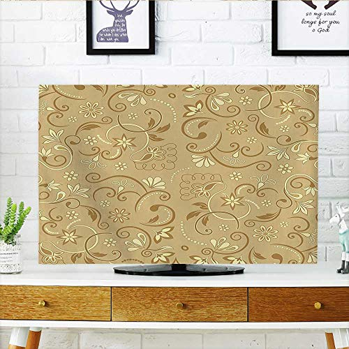 Edwardian Display Cabinet - Auraisehome Cord Cover for Wall Mounted tv Swirling Elegant Flowers Vintage Style Feminine Floral Motifs Retro Edwardian Art Deco Mode Cover Mounted tv W30 x H50 INCH/TV 52