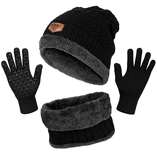 Winter Beanie Hat Scarf Glove Set - Thick Knit Warmer Neck Scarf Fleece Lined Cap Non-Slip Touch Screen Gloves Set 3-in-1 Winter Accessories for Men Women Black