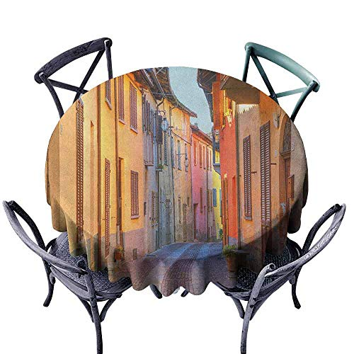 G Idle Sky Italy Decorative Textured Fabric Tablecloth Narrow Paves Street Among Old Houses in Town Serralunga DAlba Piedmont Easy Care D43 Pale Orange Brown Pink