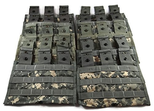 Triple Magazine Pouch ACU Camouflage, Pack of 10 Military Surplus MOLLE -
