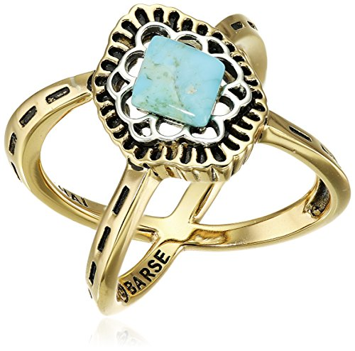 Barse Turquoise Two-Tone Criss Cross Ring, Size 8