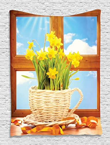 Daffodil Flowers Decor Wooden Windows Sky Classic Art Weave Basket for Kitchen Floral Bouquet Themed Tapestry Wall Hanging Dorm Bedroom Living Room Decorations, Blue White Brown Beige Yellow Green