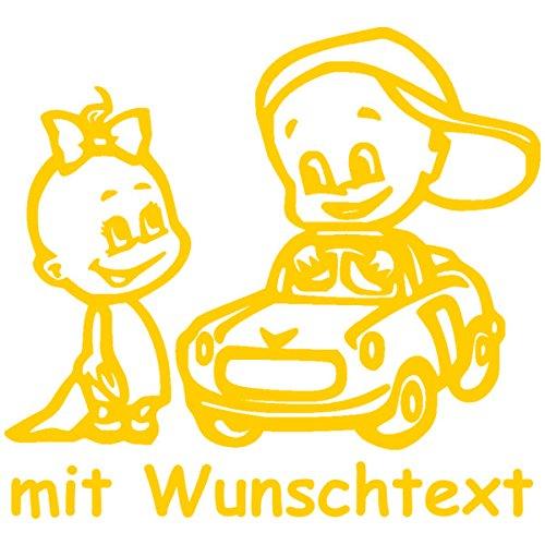 Babyaufkleber Autoaufkleber für Geschwister mit Wunschtext - Motiv Z42-MJ (16 cm) MY-BABY-SHOP