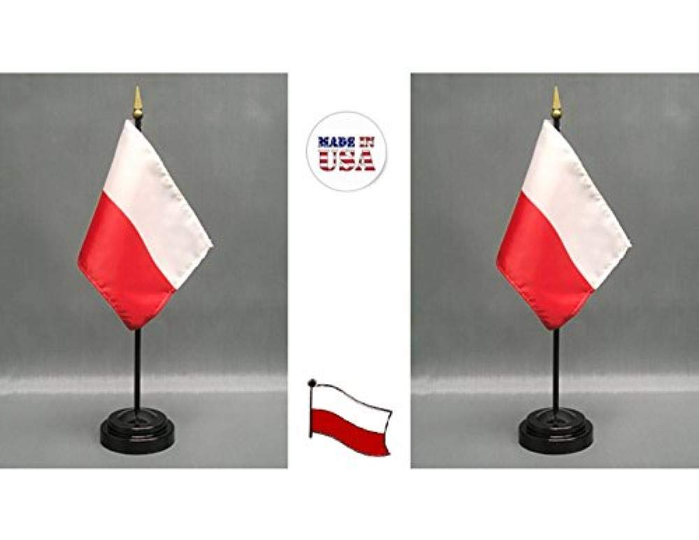 636643 Made in The USA. 2 Poland Rayon 4''x6'' Miniature Office Desk & Little Hand Waving Table Flags Includes 2 Flag Stands & 2 Small Mini Polish Stick Flags, Also Includes Poland Flag Lapel Pin.