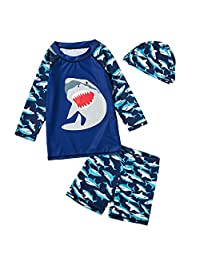 Achiyi Baby Little Boys Two Piece Shark Swimsuits UPF50+ Long Sleeve Rashguard Sun Protective Swimwear Bathing Suits with Hat