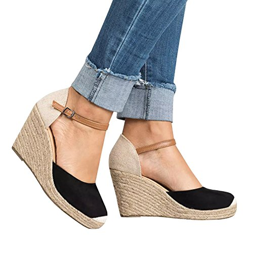 PiePieBuy Women's Summer Fashion Suede Cap Toe Espadrille Wedge Sandals Ankle Strap Buckle Platform Shoes