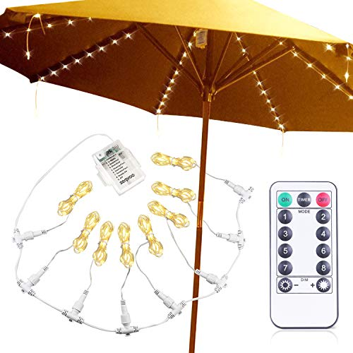zerproc Patio Umbrella Lights, 104 LED String Lights with Remote Control, 8 Lighting Mode Umbrella Lights Battery Operated Waterproof for Patio Umbrellas Outdoor Use Camping Tents