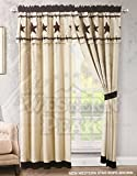 Western Peak 3 Piece Western Texas Star Barb Wire Style Quilt Bedspread with Pillow Shams (Beige, Curtain)