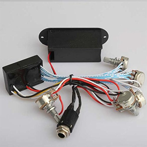 Ocamo 3 Band EQ Preamp Circuit Bass Guitar Wiring Harness For Active Bass Pickup-L016 ()