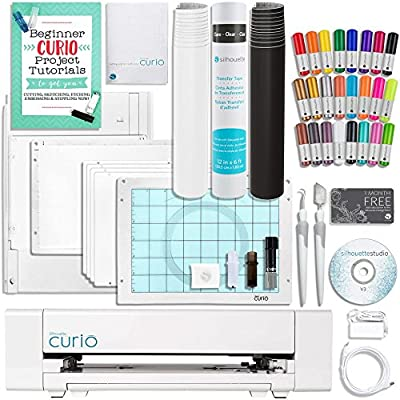 Silhouette Curio, Sketch Pen Set, Guide, 2 Full Rolls Vinyl, Roll Transfer Paper, Tools, and More