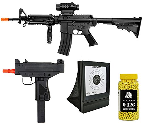 A&N Airsoft Pack of 4 Bundle Deal- Fully Automatic Airsoft Electric Rifle - Fully Automatic Airsoft Electric Mini Rifle- Airsoft Target - Pack of 2000 Yellow BB pellets.
