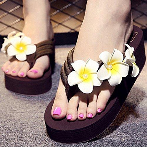 Slip Summer Sandals Pearl Brown Beach T Platform Flop Wedge on Flip Flowers Women Ladies Thong Bohemian Dressy JULY Skid Non wwqxatfUP
