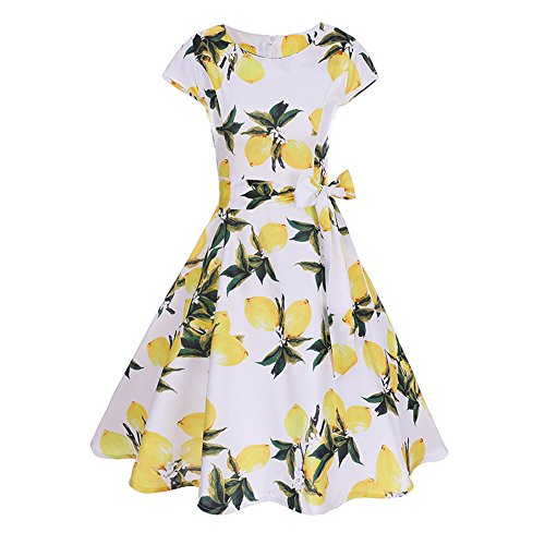 Birdfly Spring Summer Women Vintage Hepburn Style Lemon & Dots & Cherry & Rose Print Beam Waist Ball Gown Dress Plus 2L (2XL, (Spring Ball Dresses)