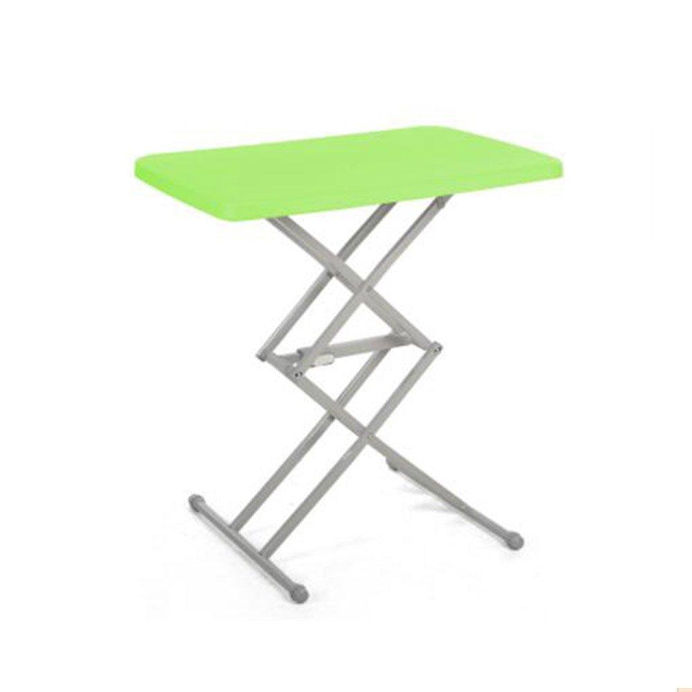 XIA 折り畳みテーブル ポータブル屋外プラスチックシンプルな折り畳み式ミニ調節可能な家庭用ダイニングテーブルリフト学習デスクのストールテーブル 折りたたみテーブル (色 : 緑) B07FGFF2FC緑