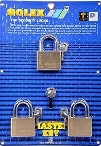 Solex 3pc Master Key Set Brass 60mm