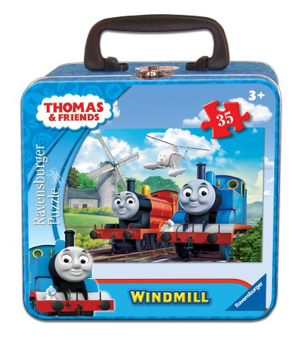 Ravensburger Thomas & Friends Thomas at The Windmill Puzzle in a Tin, 35 Piece Jigsaw Puzzle for Kids – Every Piece is Unique, Pieces Fit Together (Thomas The Tank Floor Puzzle)
