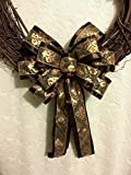 Brown & Gold Fleur Di Lis Layered Wreath Bow Large