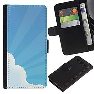 Paccase / Billetera de Cuero Caso del tirón Titular de la tarjeta Carcasa Funda para - Sky Sun Rays Cloud Blue White Art - Samsung Galaxy S3 III I9300