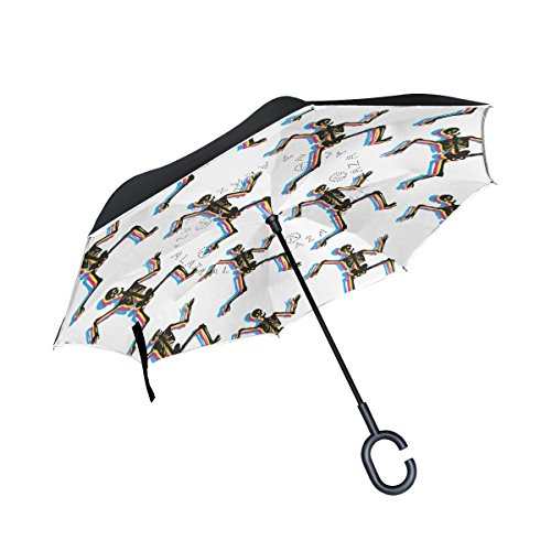 imobaby Jennifer Straight Self-standing Reserve Umbrella Dancing Skeletons Pattern Halloween Double Layer Inverted Folding Umbrella Waterproof Umbrellas for Car (Skeleton Reserve)