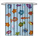 Circo Fish Shower Curtain Anniutwo Ocean Shower Curtain Collection by Types of Fish in Deep Sea Navy Nautical Life Seahorse Shells with Aqua Backdrop Image Custom Made Shower Curtain W72 x L96 Multicolor