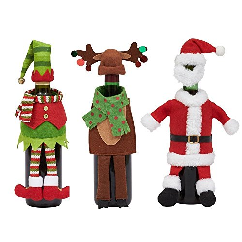 (DII Santa, Reindeer and Elf Wine Bottle Outfits - Set of 3)