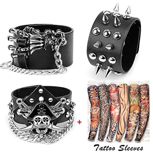 Yariew 3 Pcs Spike Studded Rivet Punk Rock Biker Wide Strap Leather Bracelet Chain Wristband Rocker Costume Accessories Adjustable + 6 Pcs Temporary Tattoo Sleeves