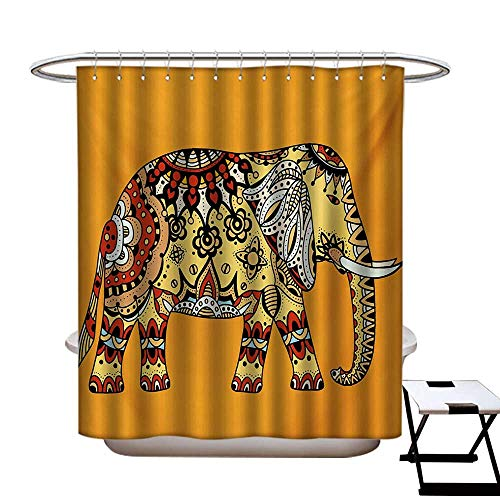 Elephant Mandala Shower Curtains Fabric Marigold Backdrop Animal with Paisley Floral Details Strength of Spirit Bathroom Decor Set with Hooks W48 x L84 Multicolor