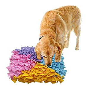 Dog Snuffle Mat Large,Small Big Dog Feeding Mat Training Pad Pet Nose Work Blanket Non Slip Pet Activity Mat for Foraging Skill, Stress Release(4545cm) 22