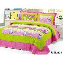 LELVA Cartoon Horse Bedspreads Set Girls Comforter Set Kids Quilt Set, Queen, 3piece