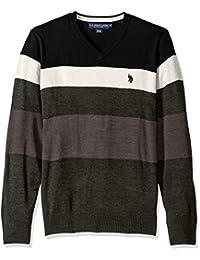 U.S. Polo Assn. Men's Stripe V-Neck Sweater