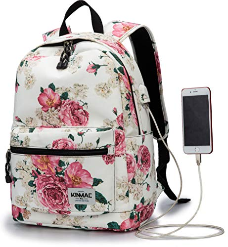 (Kinmac Peony Pattern 15 inch Waterproof Laptop Travel Outdoor Backpack with USB Charging Port for 13 inch 14 inch and 15.6 inch Laptop)