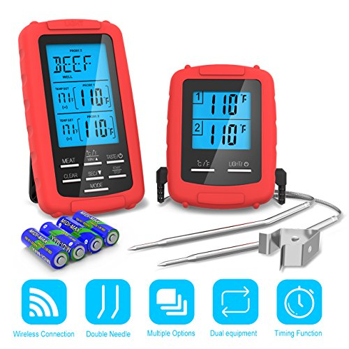 THZY BBQ Thermometer Meat Grill Thermometer with Waterproof Dual Probe Wireless Remote Digital Food Thermometer 300 Feet Remote 32°F-572°F for Cooking Grilling Oven Kitchen Smoker, Battery Included by THZY