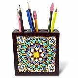 3dRose ph_73580_1 Morocco, Hassan II Mosque mosaic, Islamic tile detail-AF29 KWI0018-Kymri Wilt-Tile Pen Holder, 5''