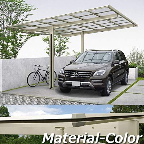 YKKAP エフルージュ プラス 基本セット ハイロング柱(H28) 51-1227L ポリカーボネート屋根 本体:プラチナステン JCS-X 『アルミカーポート 1台用』 側枠中帯:木調カラー ハニーチェリー(W7)  本体カラー:ハニーチェリー(W7) B07B2TG8GZ