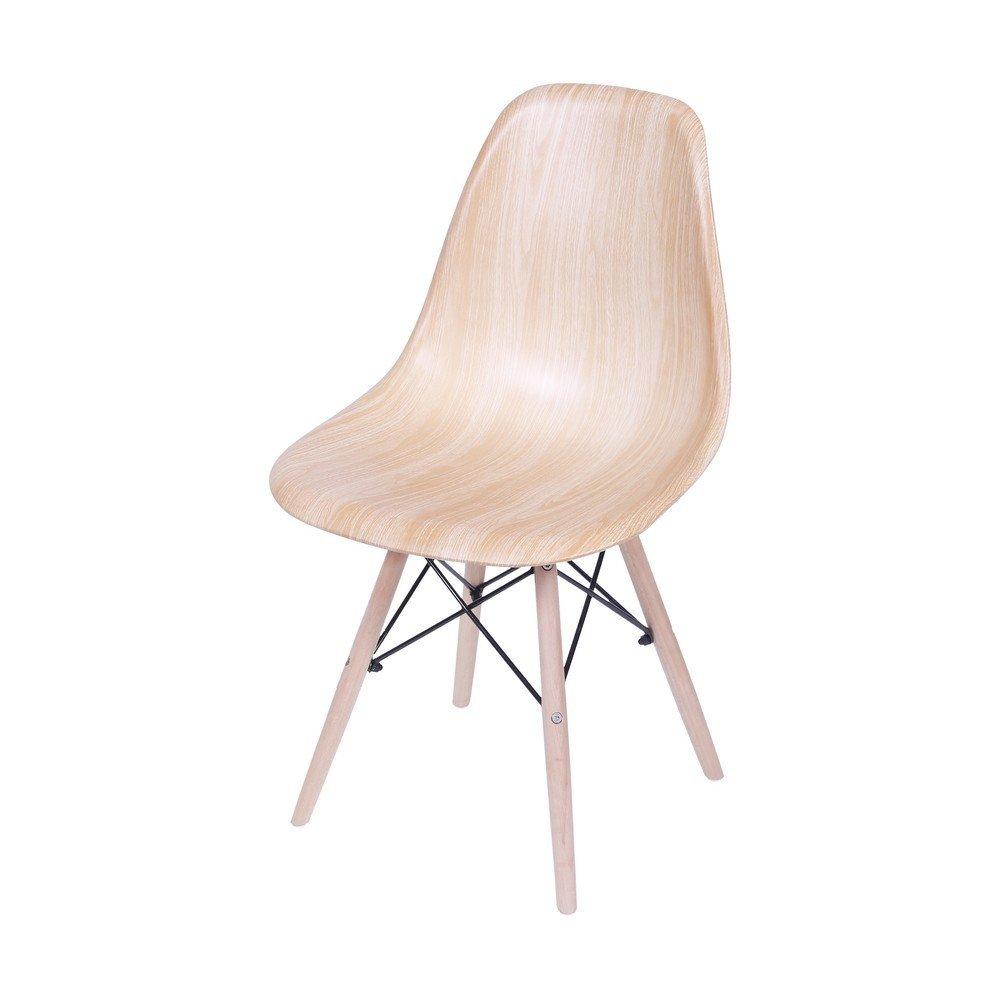 Cadeira Eames Dkr Sala De Jantar 46X80,5X42Cm Bege Madeira