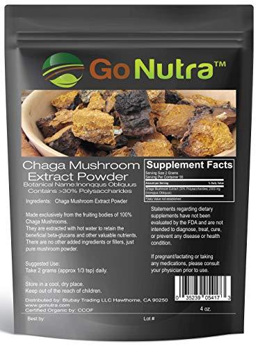 Chaga Mushroom Powder | Chaga Extract 30% Polysaccharides, Chaga Superfood, Healthy Immune System Booster & Antioxidant Health 4 oz. (113 Grams) Non - GMO & Vegan Friendly