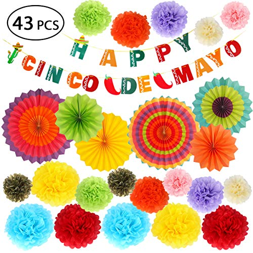 - Cinco de Mayo Decorations - Fiesta Party Supplies Pack w/Colorful Paper Flowers, Hanging Paper Fans and Banner for Mexican Themed Party Decorations,Baby Shower, Bachelorette Party Carnivals - 43pcs