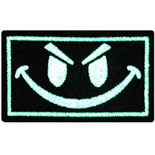 EmbTao Glow In Dark Evil Smiley Smile Face Isaf US Army Milspec Swat Embroidered Iron On Sew On Patch -