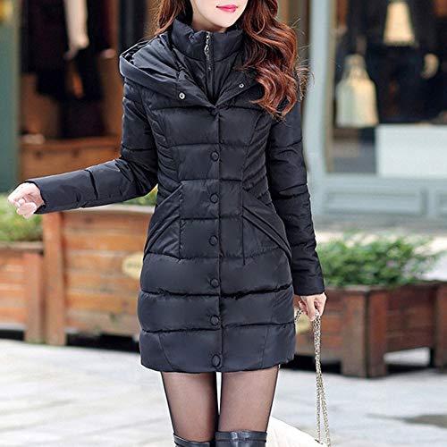 Para Invierno Negro Cazadoras Gruesos Larga Abrigos Mujeres Capa Moda Manga Casual Elegantes Acolchada Caliente EvqSOO