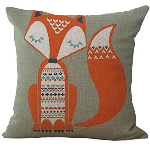 GBSELL Pillow Cover Fox Pillow Case Sofa Throw Cushion Cover Home Party Decor,45cm45cm (B)