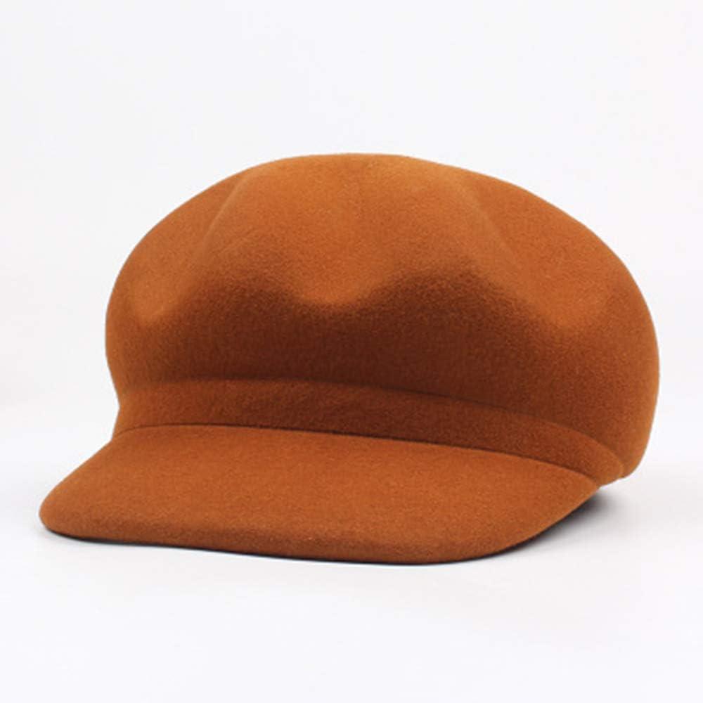 Sombrero Octogonal de Lana Femenino Versión Coreana del Abanico literario Color Salvaje Color Pato Sombrero Sombrero