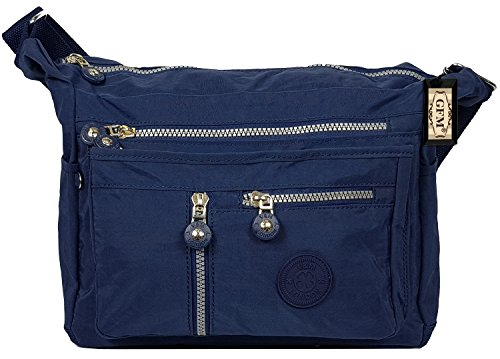 GFM Womens Multi Zip Pockets Nylon Lightweight Cross Body Bag Shoulder Bag Messenger Bag S4-25-GHNL - Navy Blue