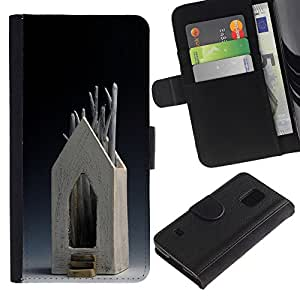 iBinBang / Flip Funda de Cuero Case Cover - House Modern Art Wood Tree Symbolic - Samsung Galaxy S5 V SM-G900