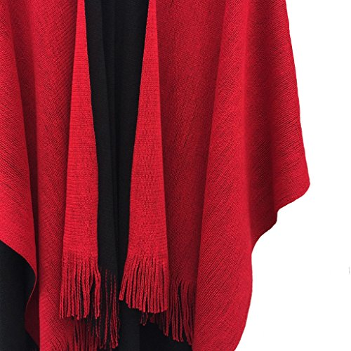 Women's Knitted Open Poncho Cape Ladies Christmas Shawl/Blanket Long Wrap With Tassel (Black+Red)