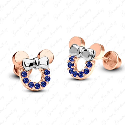 Earrings Tone 18k Two (Gemstar Jewellery 18K Two Tone Gold Finish Round Blue Sapphire Minnie Mouse Disney Icon Stud Earrings)
