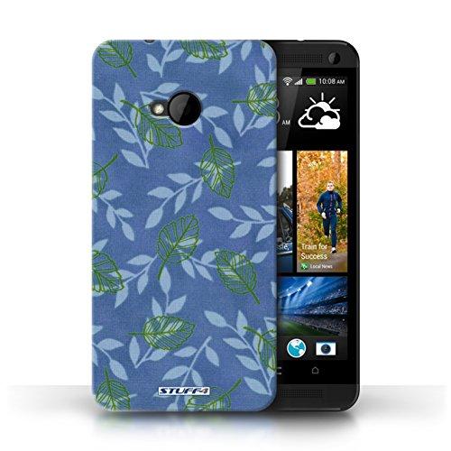 Etui / Coque pour HTC One/1 M7 / Bleu/Vert conception / Collection de Motif Feuille/Branche