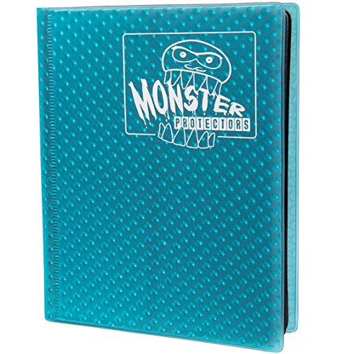 (Monster Binder - 4 Pocket Trading Card Album - Holofoil Aqua Blue- Holds 160 Yugioh, Magic, and Pokemon Cards)